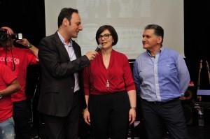 Angela Calabrò, Tony Trovato e il conduttore Dario Privitera fotografati da Massimo Pantano.
