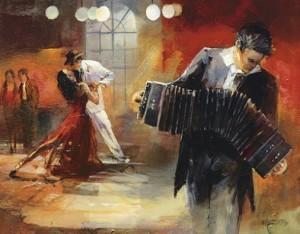 dipinto con ballerini e suonatori di tango